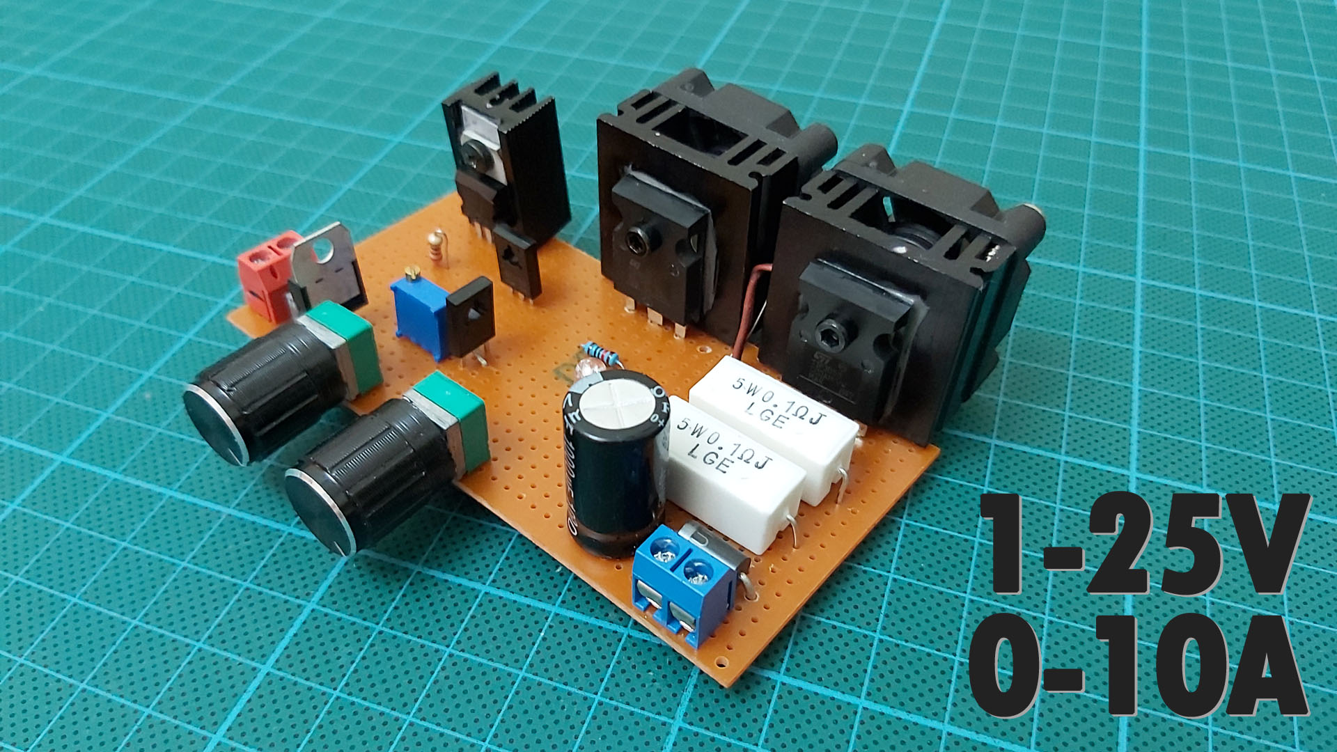How To Make a Variable Power Supply. 1-25V & 0-10A Voltage & Current Adjustable Power Supply