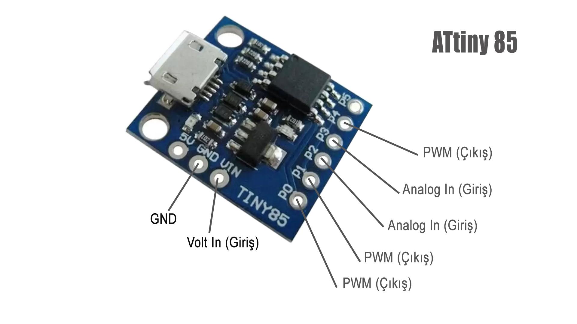 ATtiny85 Geliştirme Modülü Bağlantılar